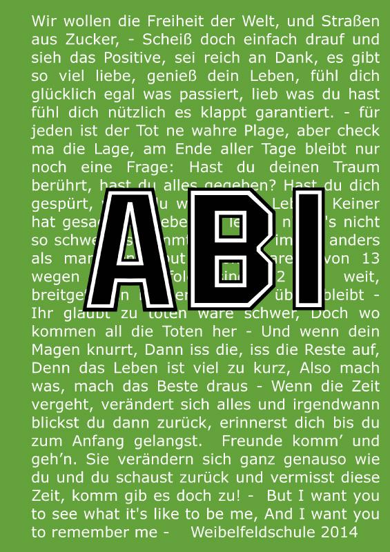 Abizeitung der Weibelfeldschule 2013/14