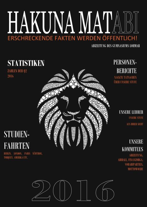 Titelbild der Abizeitung 2015/16 Gymnasium Lohmar