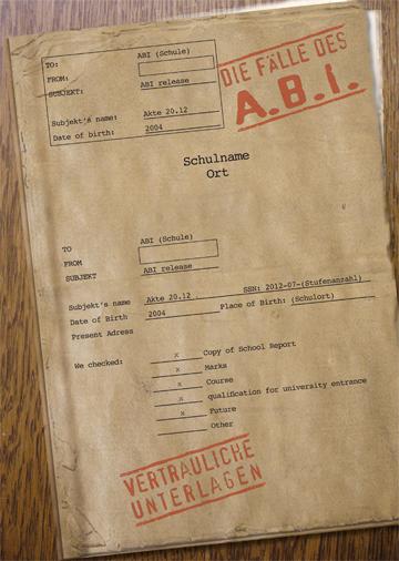 Gestaltungsvorlage Abizeitung Umschlag Die Fälle des A.B.I.
