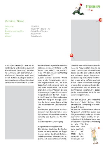 Gestaltungsvorlage Abizeitung Steckbriefe ABIpunkTUR