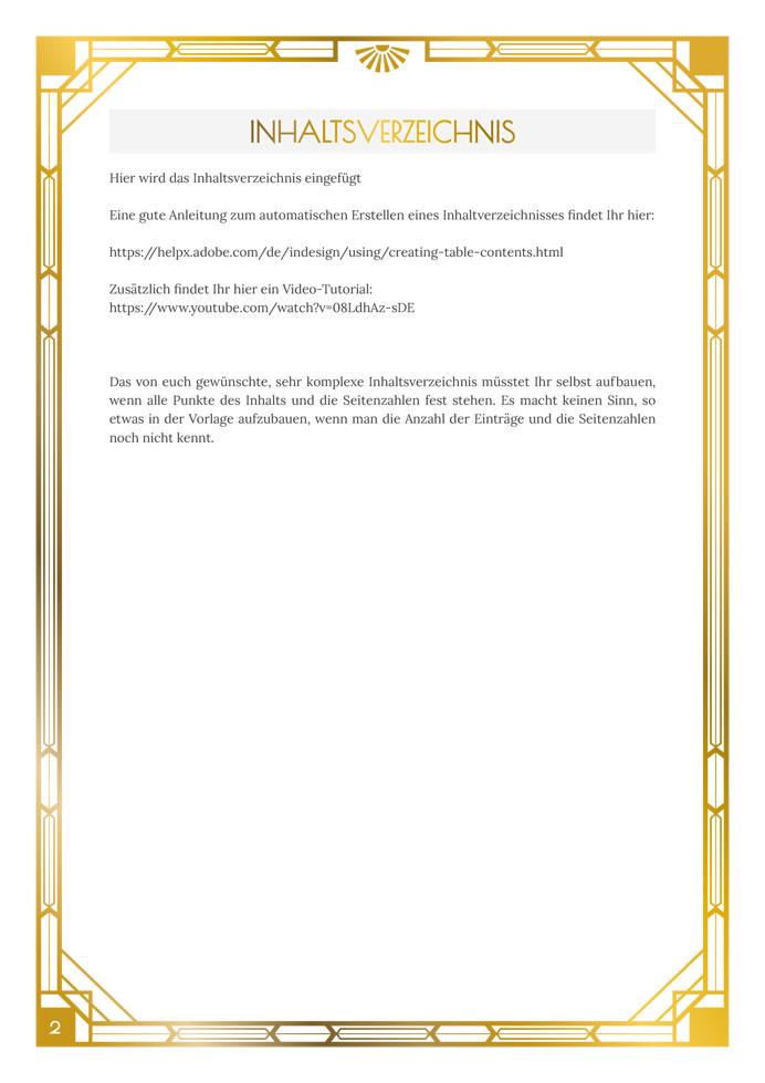 Layout Golden Twenties Inhaltsverzeichnis