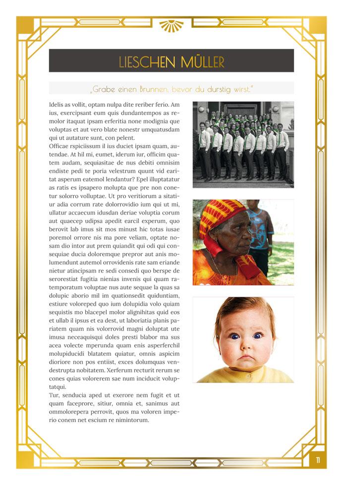 Layout Golden Twenties Profile Variante mit 3 Bildern