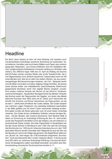 Gestaltungsvorlage Abizeitung KohlrABI Kursberichte