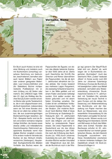Gestaltungsvorlage Abizeitung KohlrABI Steckbriefe