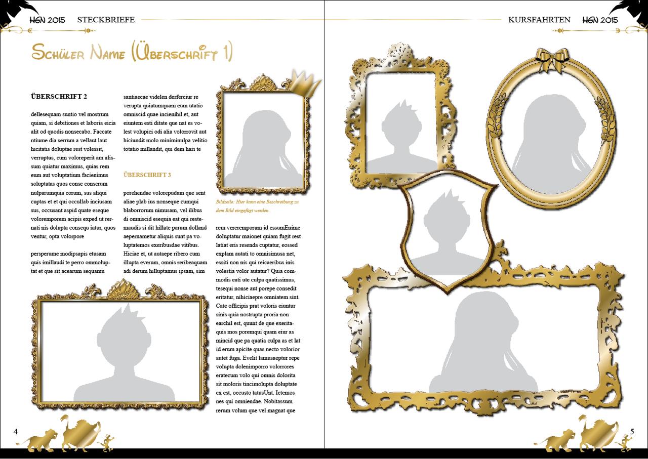 Steckbriefseite aus Abizeitungs-Gestaltungsvorlage Hakuna Matabi
