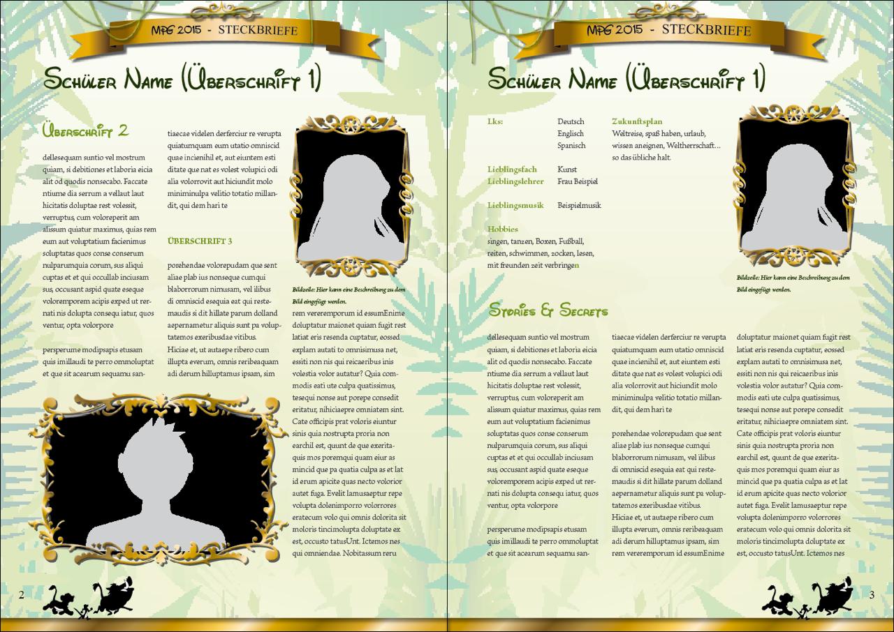 Gestaltungsvorlage Steckbriefseite aus Abizeitung Hakuna MatABI
